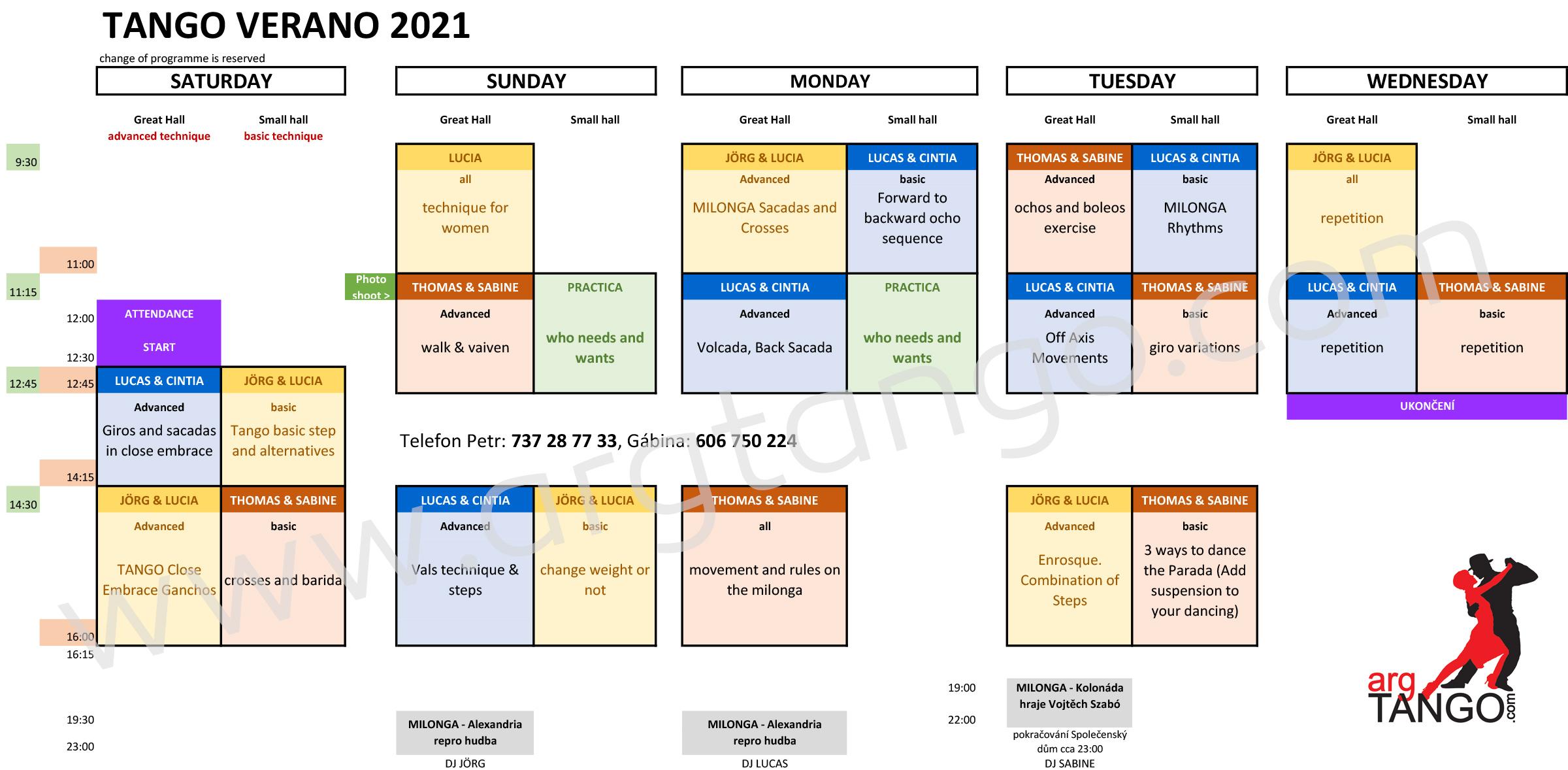Tango Verano 2021 program